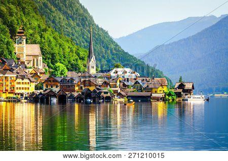 Beautiful Hallstatt Village On Hallstatter Lake, Austria.