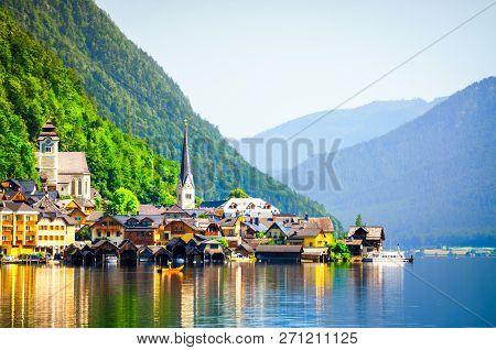 Beautiful View On Hallstatt Village In Austria
