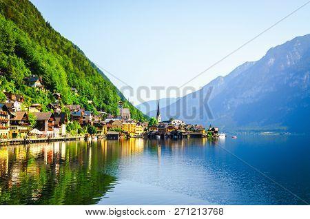 Picturesque Landscape Of Hallstatt Village In Alpine Mountains