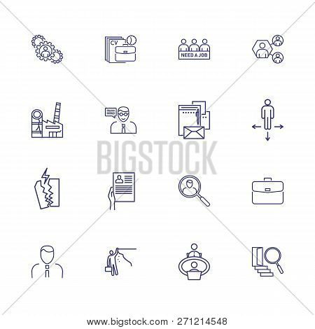 Unemployment Icons. Set Of Line Icons. Crisis, Job Search, Job Loss. Hr Management Concept. Vector I