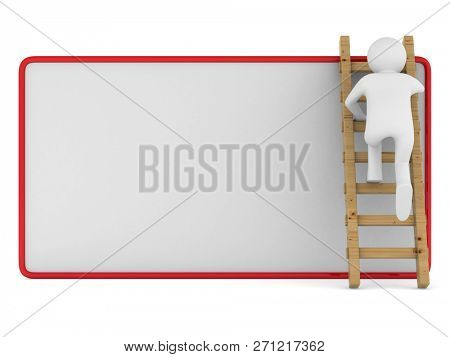 man clambering on poster. Isolated 3D illustration