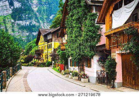 Picturesque Street In Hallstatt Village In Alps, Austria. Beautiful Village Houses In Europe.