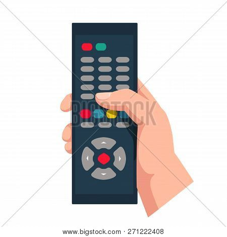 Remote Control Holding In Hand Isolated On White Background. Wireless Television Control. Social Med