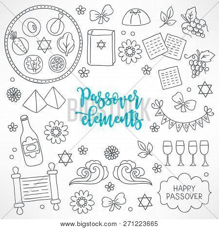 Hand Drawn Passover Design Elements. Seder Plate, Hagada Book, Pyramid, Flower, Matzo, Grapes, Wine