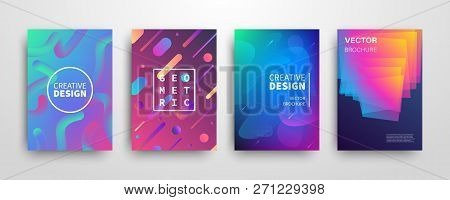 Modern Futuristic Abstract Dynamic Geometric Covers Set. Universe Colorful Trendy Banner Templates D
