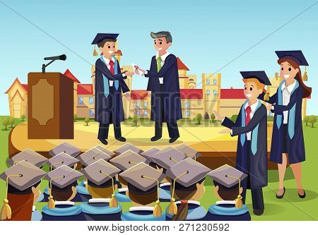 Vector Concept Illustration Cartoon Happy Students. Image University Graduation Process. Dean Gives