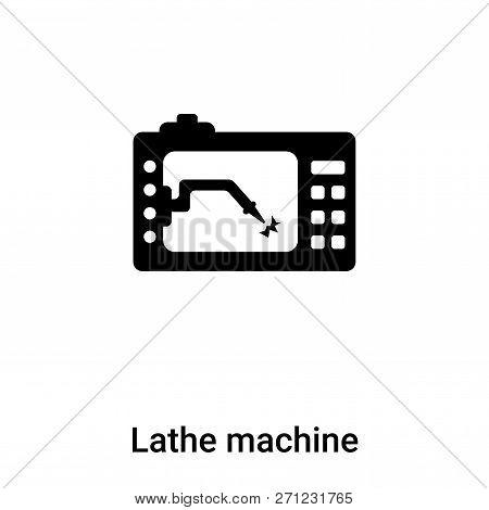 Lathe Machine Icon In Trendy Design Style. Lathe Machine Icon Isolated On White Background. Lathe Ma