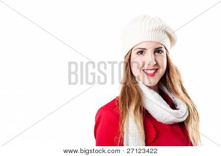 Smiling Young Girl With White Hat And Scarf Looking At Camera