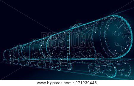 Oil Railway Cistern 3d Render Low Poly. Fuel Petroleum Finance Industry Diesel Tank. Cylinder Railro