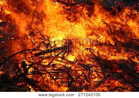 Detail Of Flames In An Outdoor Fire In Denmark