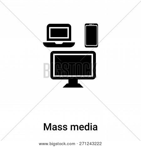 Mass Media Icon In Trendy Design Style. Mass Media Icon Isolated On White Background. Mass Media Vec