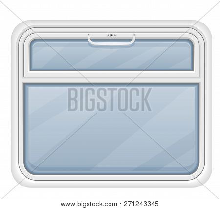 Window In The Train Compartment Vector Illustration Isolated On White Background