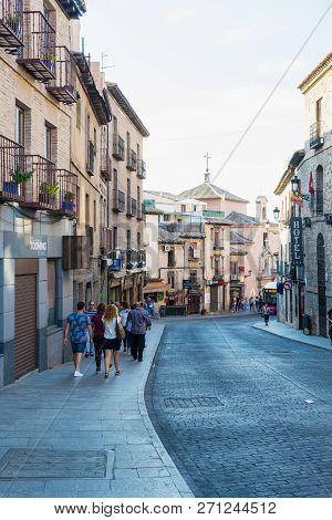 Toledo, Spain - October 6, 2018: Street In The Old Town Of Toledo, Spain