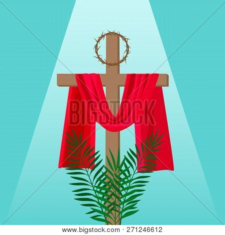 Christian Banner Holy Week With The Crucifixion Of Jesus And The Thorns Wreath.