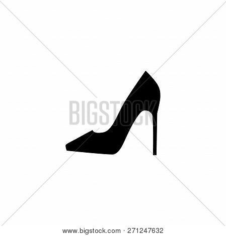 Female High Heel Shoe Simple Vector Silhouette. Woman High Heel Shoe Black Icon.