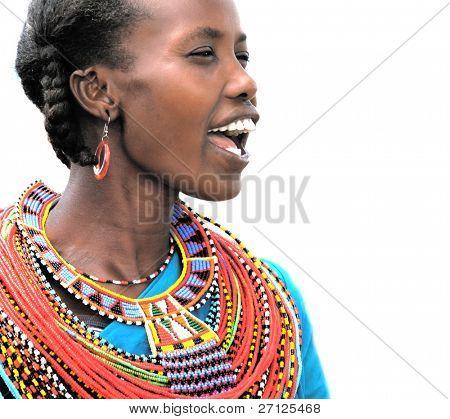 AFRICA,KENYA,SUMBURU - NOVEMBER 8: Portrait of Sumburu  woman wearing traditional handmade accessories,review of daily life of local people,near Sumburu Park National Reserve, November 8, 2008, Kenya