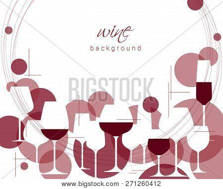 Horizontal Wine Glasses Pattern. Design Element For Tasting, Menu, Wine List, Restaurant, Winery, Sh