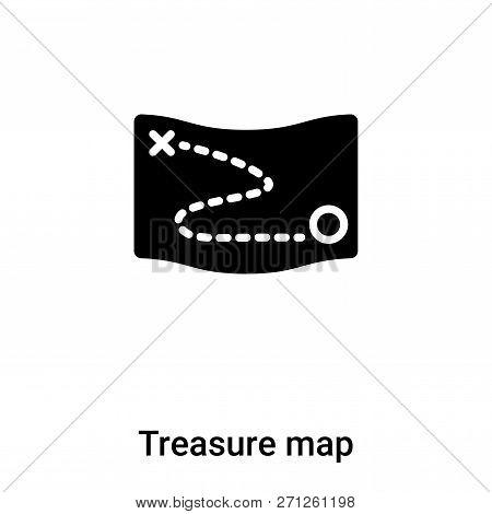Treasure Map Icon In Trendy Design Style. Treasure Map Icon Isolated On White Background. Treasure M