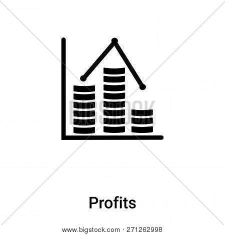 Profits Icon In Trendy Design Style. Profits Icon Isolated On White Background. Profits Vector Icon