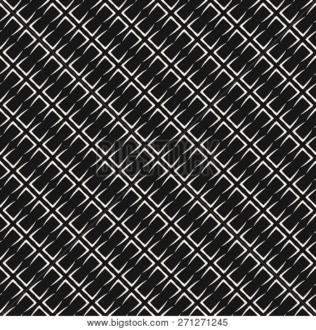 Vector Geometric Seamless Pattern With Grid, Lattice, Mesh, Net, Grill, Thin Diagonal Lines, Repeat