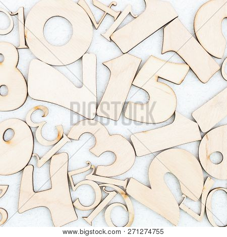 Chaotic Background Of Numbers From Zero To Nine. Background With Numbers. Textures Of Numbers
