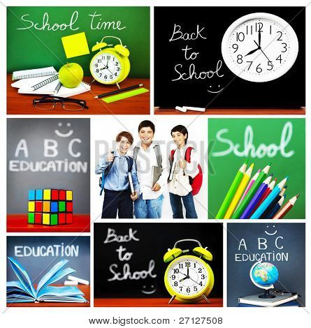 Back to school concept collage, collection of images related to education, colorful accessories and happy schoolboys