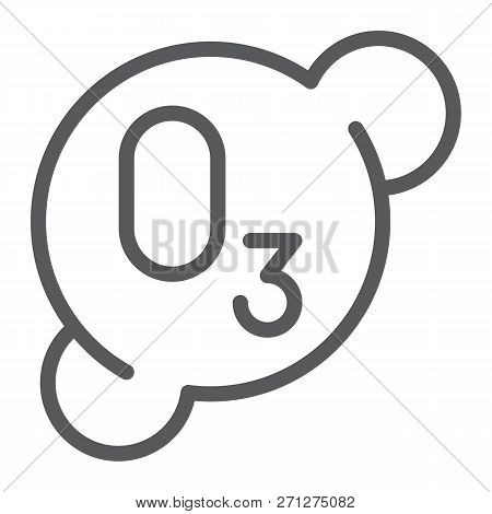 Ozonation Line Icon, Formula And Ozone, Molecule Sign, Vector Graphics, A Linear Pattern On A White