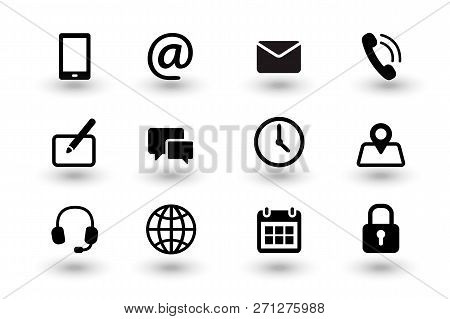 Set Of Contact Us And Web Communacation Icons. Simple Flat Black Vector Icons Collection Isolated On