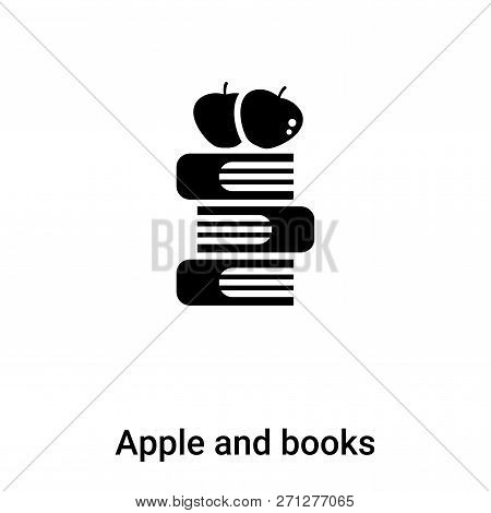 Apple And Books Icon In Trendy Design Style. Apple And Books Icon Isolated On White Background. Appl