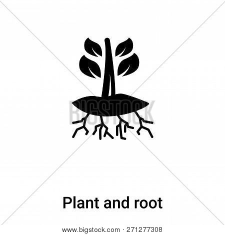 Plant And Root Icon In Trendy Design Style. Plant And Root Icon Isolated On White Background. Plant