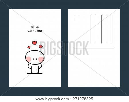 Be My Valentine Postcard - Shy Cartoon Character With Red Hearts Above The Head. Love Confession Ill