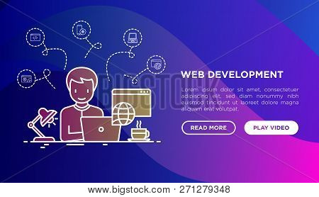Web Developer Is Working Overtime On Laptop Concept. Template Of Web Page With Thin Line Icons Of Pr