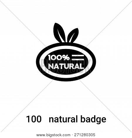 100   Natural Badge Icon In Trendy Design Style. 100   Natural Badge Icon Isolated On White Backgrou