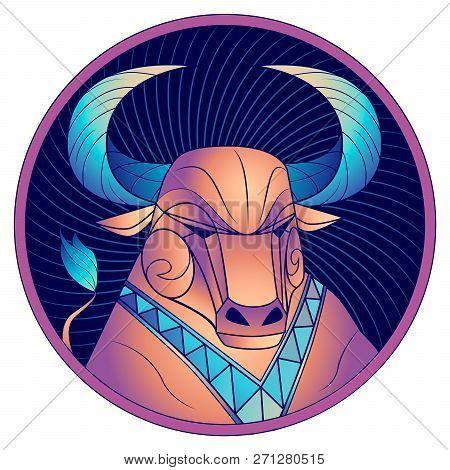 Taurus Zodiac Sign, Astrological Horoscope Symbol. Futuristic Style Icon. Stylized Graphic Portrait