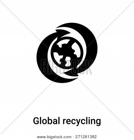 Global Recycling Symbol Icon In Trendy Design Style. Global Recycling Symbol Icon Isolated On White