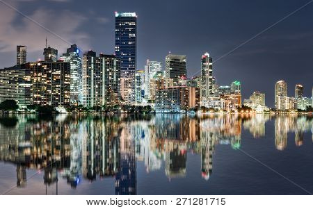 Miami Skyline Reflection At Night Across Biscayne Bay From The Rickenbacker Causeway