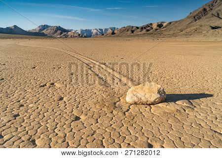 The Racetrack Playa Is A Scenic Dry Lake Located Above The Northwestern Side Of Death Valley, In Dea
