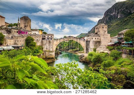 Panoramic Aerial View Of The Historic Town Of Mostar With Famous Old Bridge (stari Most), A Unesco W