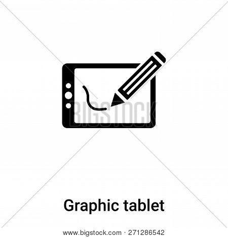 Graphic Tablet Icon In Trendy Design Style. Graphic Tablet Icon Isolated On White Background. Graphi