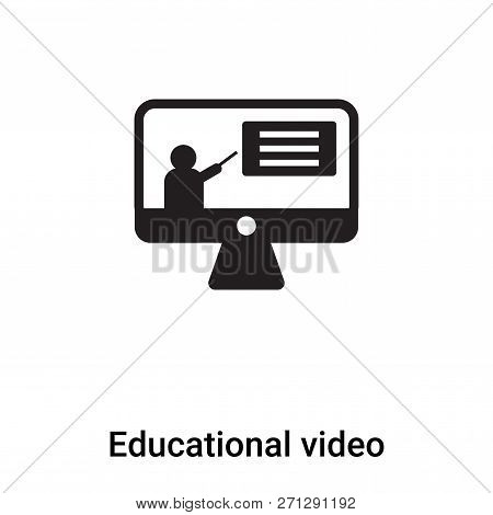 Educational Video Icon In Trendy Design Style. Educational Video Icon Isolated On White Background.