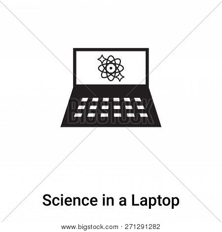 Science In A Laptop Icon In Trendy Design Style. Science In A Laptop Icon Isolated On White Backgrou