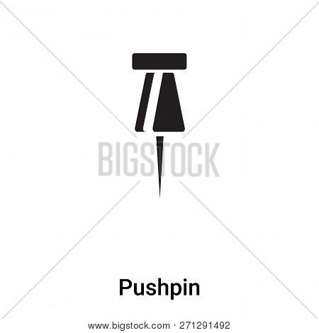 Pushpin Icon In Trendy Design Style. Pushpin Icon Isolated On White Background. Pushpin Vector Icon
