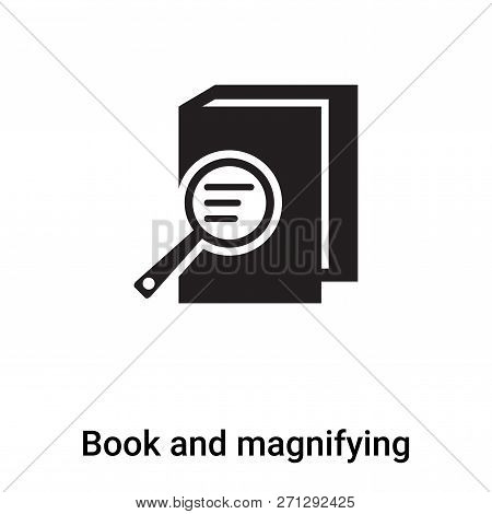 Book And Magnifying Icon In Trendy Design Style. Book And Magnifying Icon Isolated On White Backgrou