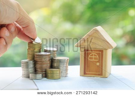 Coins Stack In Front Of Bank Account Book Savings Money Of Coins Concept Concept For Property Ladder