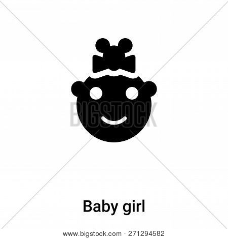 Baby Girl Icon In Trendy Design Style. Baby Girl Icon Isolated On White Background. Baby Girl Vector