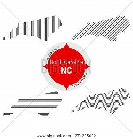 Hatched Pattern Vector Map Of North Carolina. Stylized Simple Silhouette Of North Carolina. Four Dif