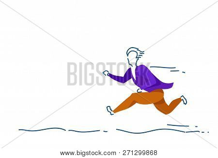 Businessman Running Punctuality Concept Man Colored Silhouette Full Length Horizontal Sketch Doodle