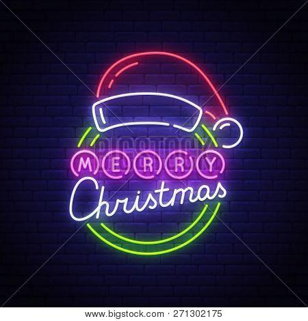 Merry Christmas Neon Text, Bright Signboard, Light Banner. Santa Hat Neon Logo, Emblem. Merry Christ