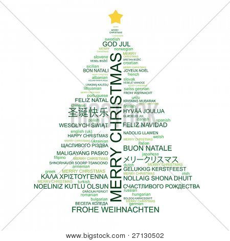 christmas tree shape from letters typographic composition merry christmas in different languages raster - Merry Christmas In Different Languages List