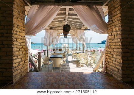 Sozopol, Bulgaria - Aug 9, 2015: Empty Terrace With Beautiful View In To The Sea. Popular Resort Tow